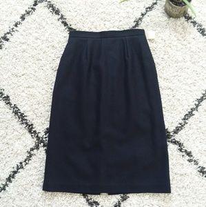Navy wool blend pencil skirt